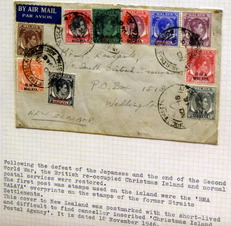 1946 Christmas Island cover and Postal Agency Postmark
