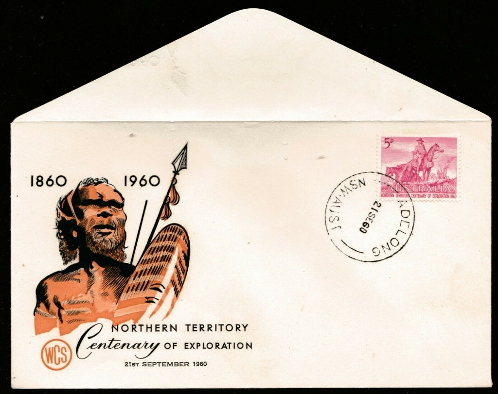 .<br />Australia, 21 Sep 1960, Northern Territory Centenary stamp on Wesley FDC, <br />logo: poor quality generic portrait of aboriginal person