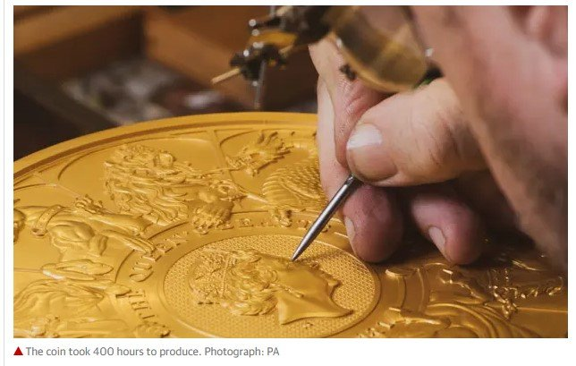 The coin took 400 hours to produce. Photograph: PA