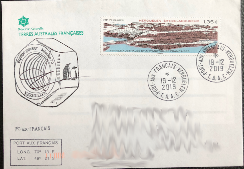 2019 - French Southern and Antarctic Lands (TAAF) - Tiller Site, Kerguelen Island single on cover