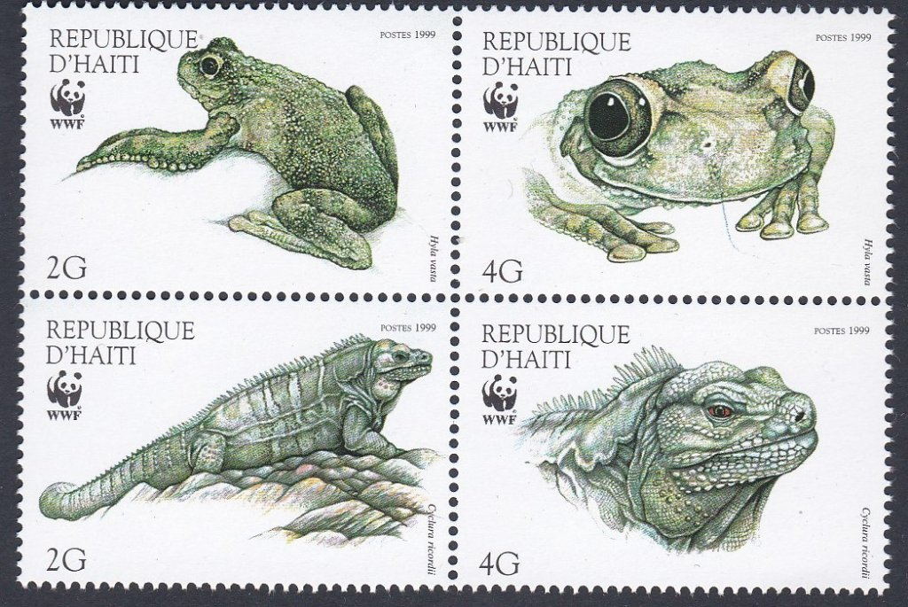 Block of 4 mint stamps from Haiti-Reptiles and Amphibians for World Wildlife Fund.