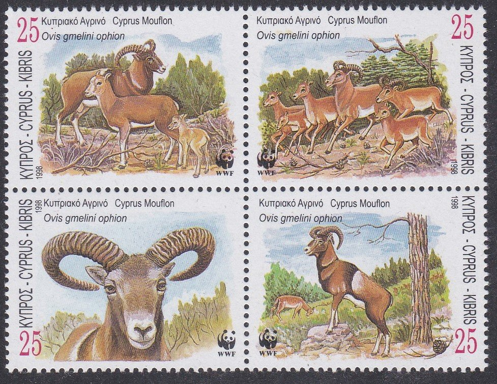 Block of 4 mint stamps from Cyprus, 1998-Wild sheep for World Wildlife fund.
