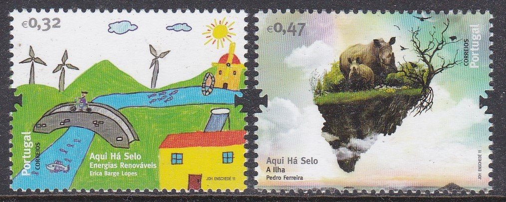 Stamp of Portugal 2011 Patrimonio Ambiental- Renewable Energy& Animal/Plant kingdoms on the flying island Earth.