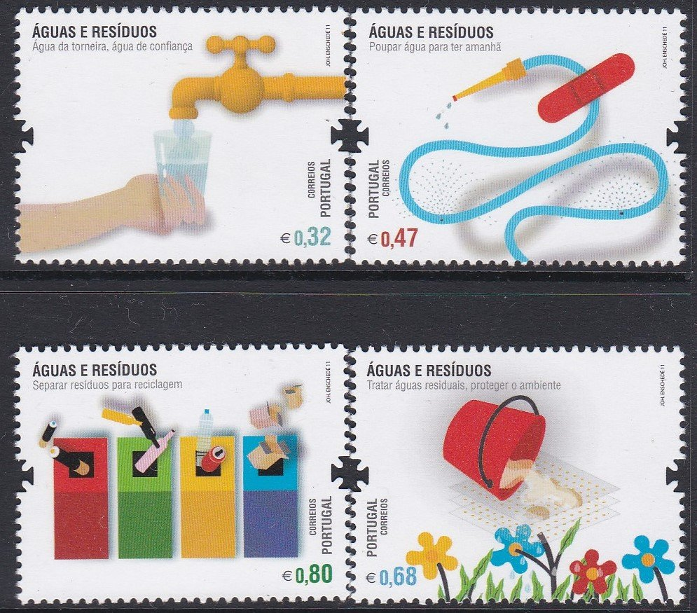Stamp of Portugal 2011 Patrimonio Ambiental Aguas e Rasiduos Water and Waste-Save water and separate and recycle waste.