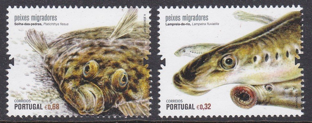 Stamp of Portugal 2011 Patrimonio Ambiental Peixes Migradores, Migratory Fish. All shown are threatened with Extincao-extinction.