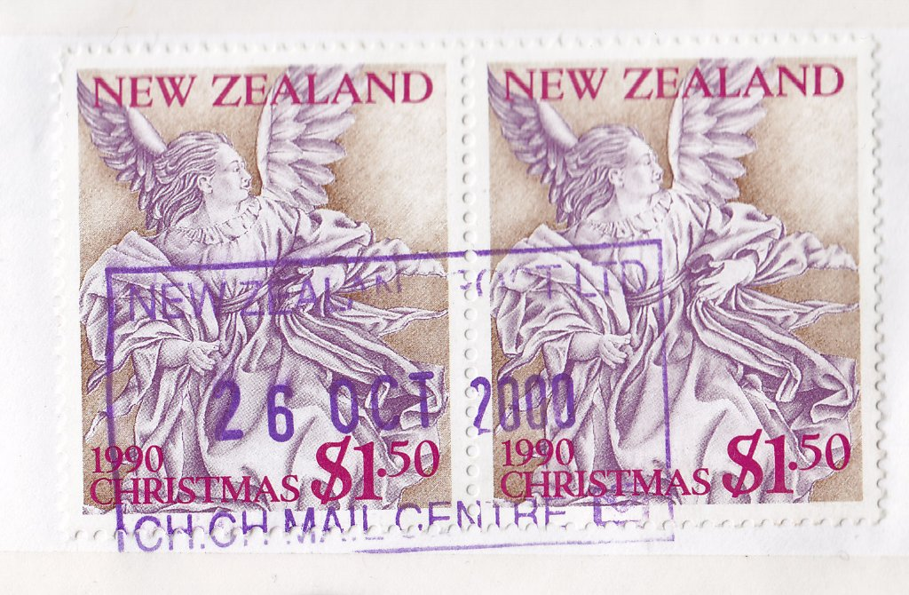 New Zealand 1990 Christmas stamp used in 2000