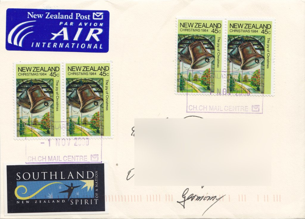 New Zealand 1994 Christmas stamp used in 2000
