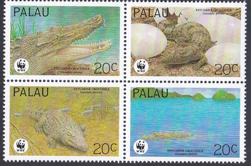 Block of 4 Mint Stamps from Palau The Estuarine Crocodile, for World Wildlife fund.