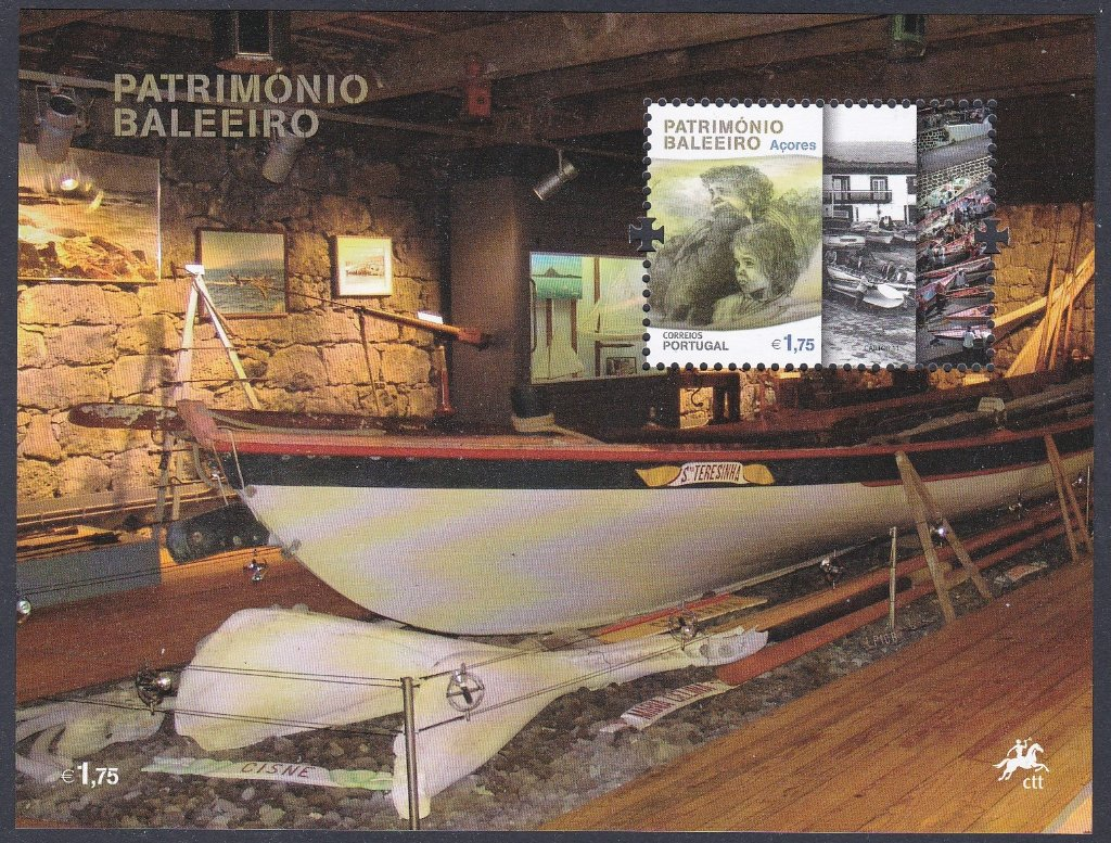 Stamp of Portugal 2011 Patrimonio Ambiental/Baleerio Dos Acores, Miniature Sheet of a Whaling boat in The Azores Museum.