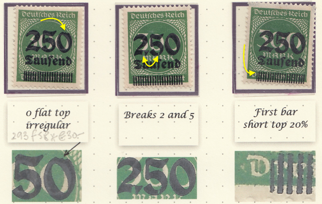 Page 4 (2) Michel 293 Stamp on right with recognised flaw 293 f58