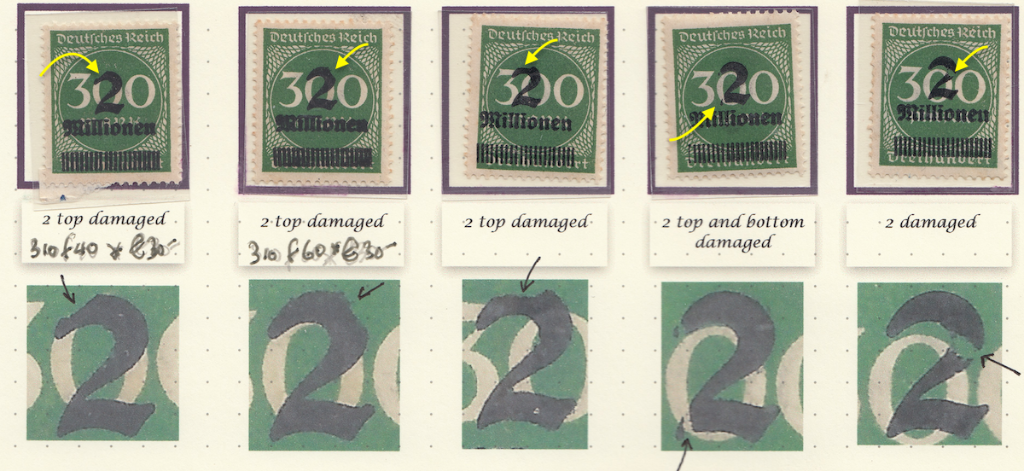 Page 7 (1) Michel 310 Left stamp 310 f40 flaw, next stamp 310 f60 recognised flaws, Various pieces missing from the ´2`.