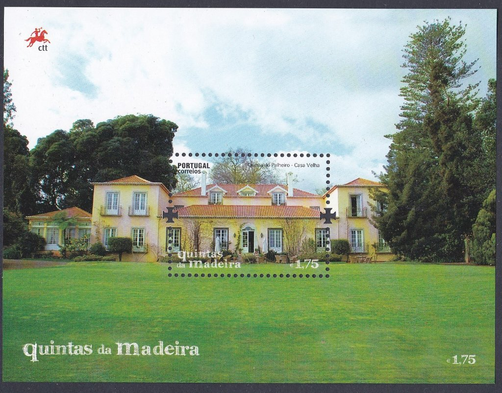 Stamp Of Portugal 2011 Patrimonio Ambiental Quintas da Maderia- Manor Houses of Maderia-Miniature Sheet of the Manor house of Joao Goncales Zaeco housing theQuinta das Ceuzes museum.