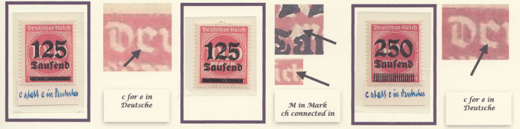 Page 9 (1) Michel 291 (left and middle) errors on host stamp, Michel 295 flaw on host stamps.