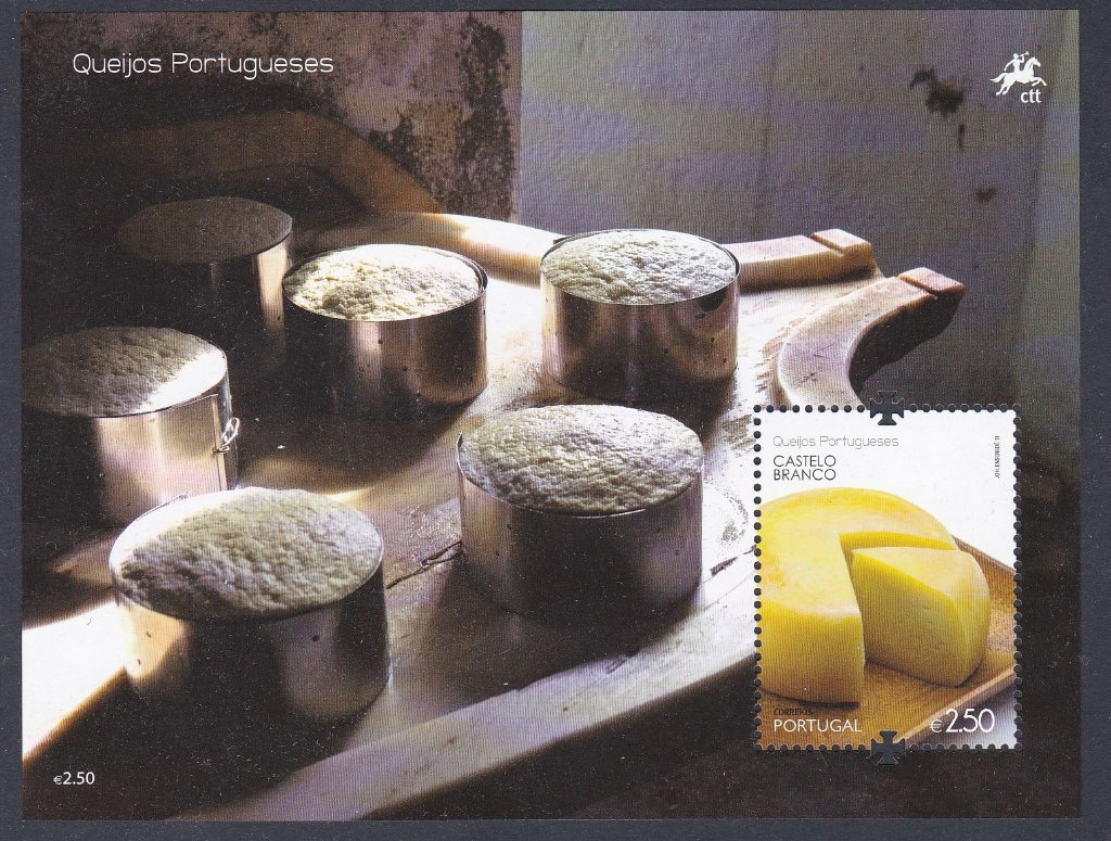 Stamp of Portugal 2011 Patrimonio Ambiental, Queijos Portugueses- Portuguese Cheeses made from ewe's,goat's or cow's milk. Miniature Sheet of Castelo Branco.