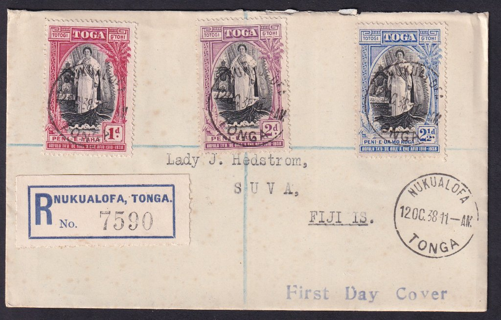 Tonga FDC - SG71-73 Queen Salote's 20th Anniversary of Accession - 12th October 1938