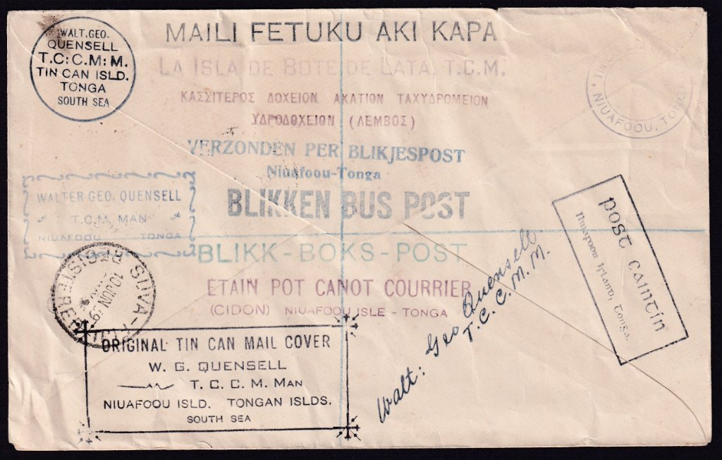 Reverse signed by Walt Geo Quensell - Tin Can Canoe Mail Manager - Arrived Fiji, 10th June 1939.