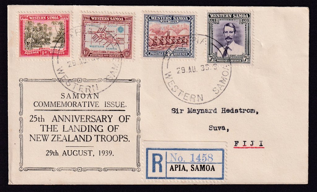 Western Samoa fdc 1939  - 25th Anniversary of the Landing of New Zealand Troops SG 195/8 stamps to Sir Maynard Hedstrom, Suva, Fiji - Apia cds 29th August 1939.