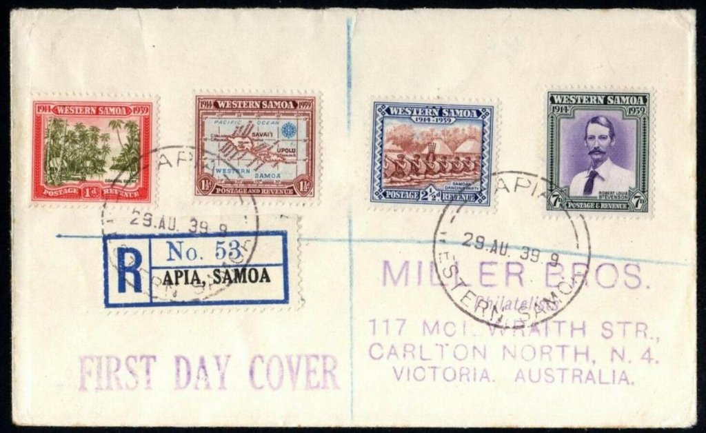Western Samoa fdc 1939 - 25th Anniversary of the Landing of New Zealand Troops SG 195/8 stamps to Miller Bros (Aust Cover Producers) Carlton, Vic, Australia - Apia cds 29th August 1939.