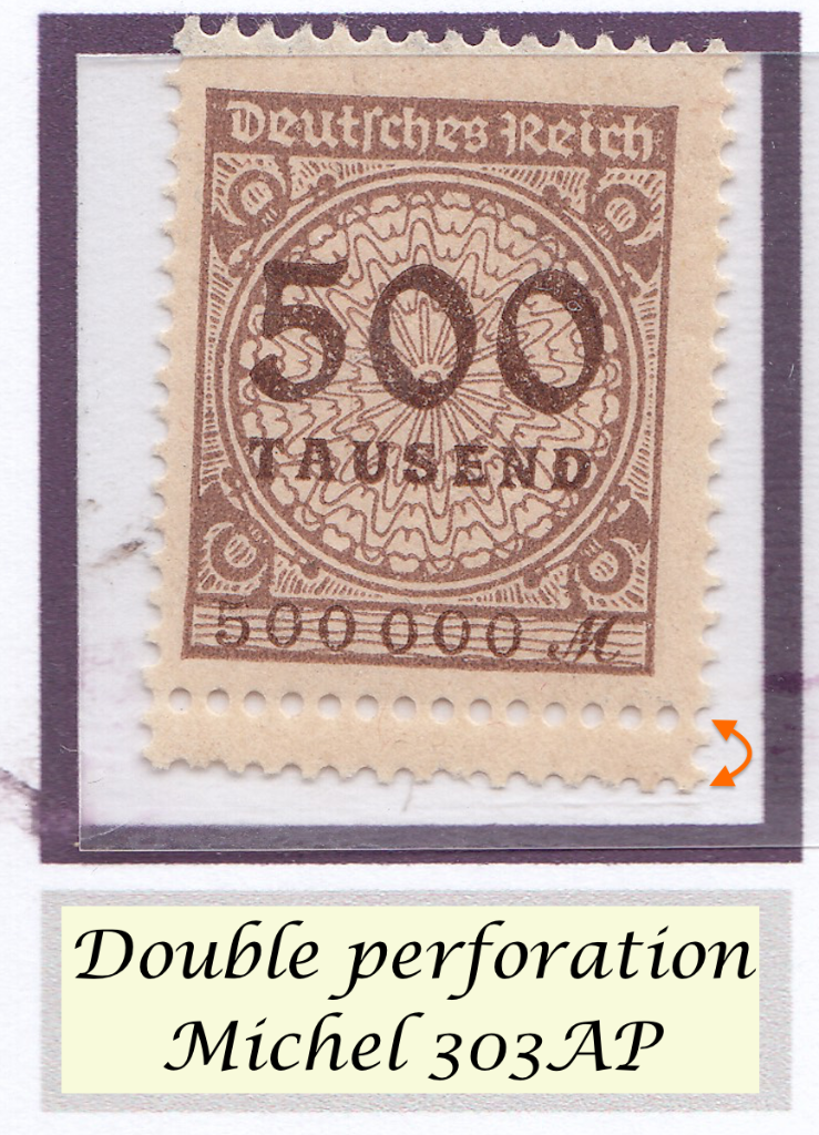 Double perforation on Mi. 303AP