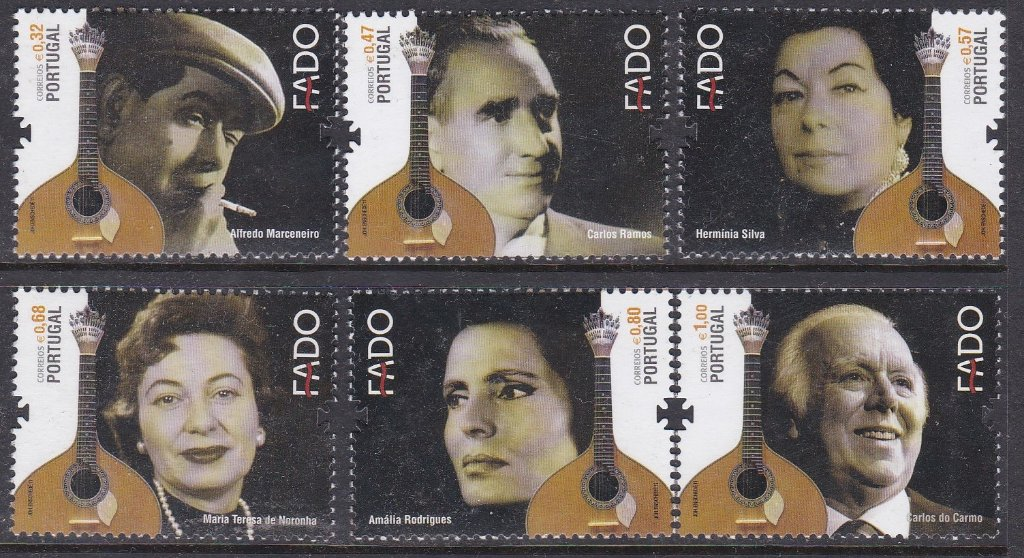 Stamp of Portugal 2011 Patrimonio Cultural A gallery of great Fado singers and their instruments including Amalia Rodrigues who sang verses of poets Camoes and Jose Regio. She took the Fado to the apogee of world fame.