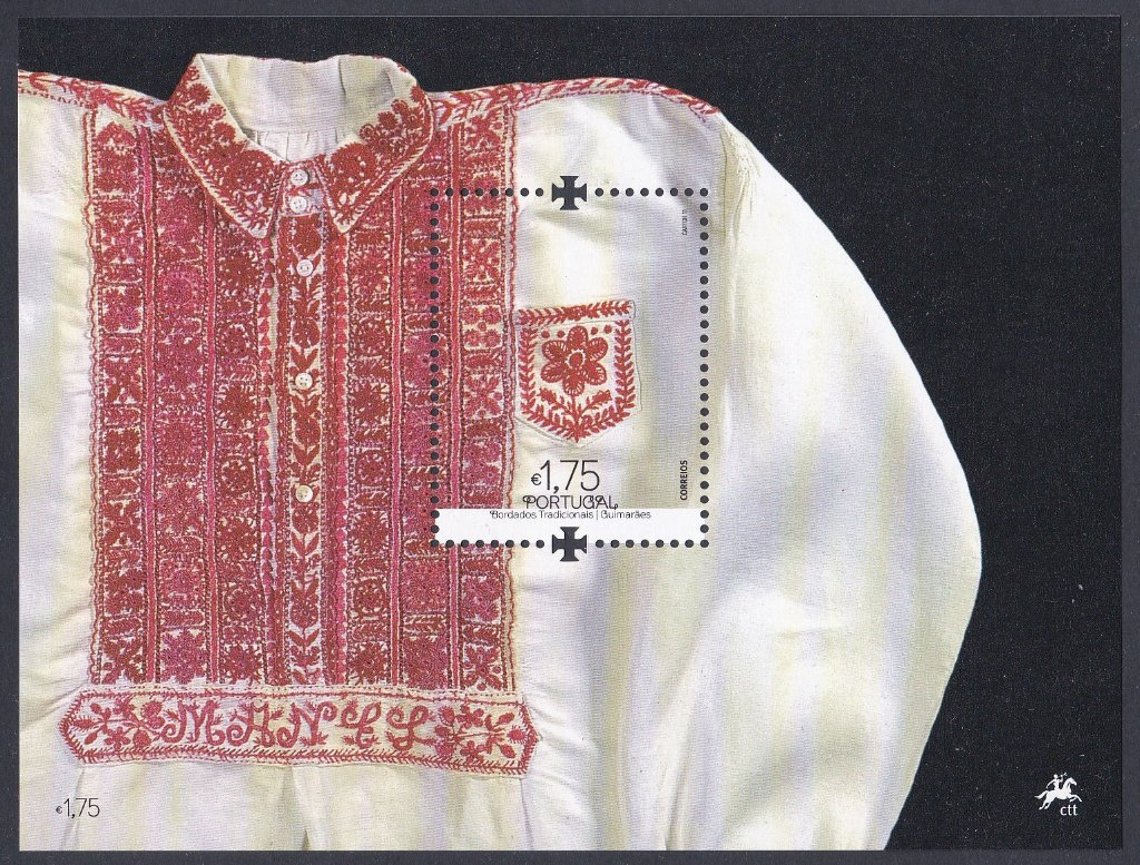 Stamp of Portugal 2011 Patrimonio Cultural  Os belos Bordados Tradicionais Portugueses- The beautiful Traditional Portuguese Embroidery. The betrothed's Wedding shirt(Guimaraes)