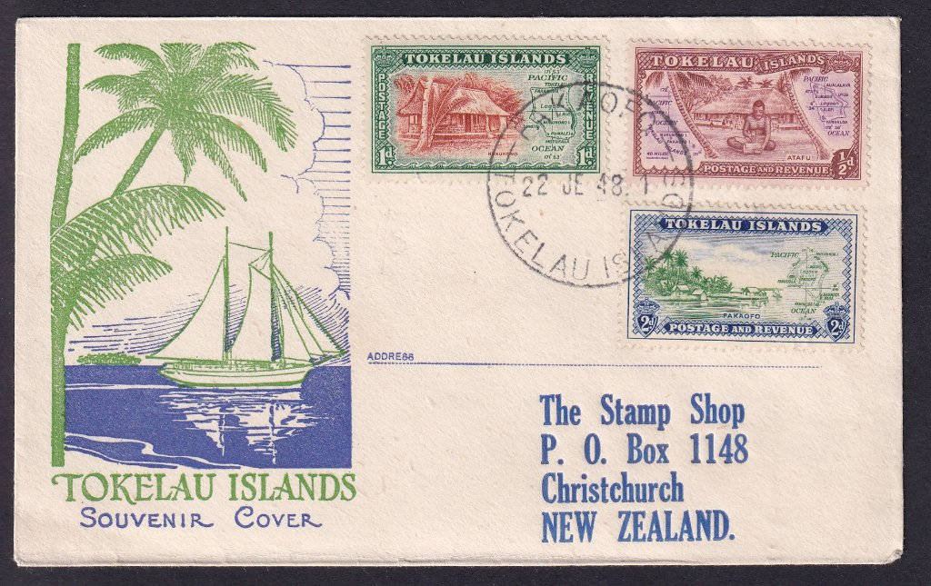 Tokelau Islands 1948 Definitives SG1-3 postmarked Nukunonu 22nd June 1948 to The Stamp Shop, Christchurch, New Zealand (printed address)
