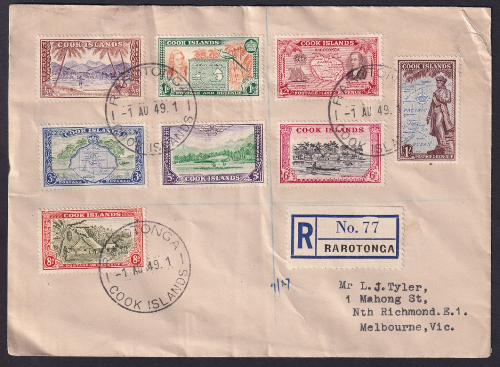 Cook Islands 1949-61 Pictorials stamps fdc SG 150-157. Postmarked Rarotonga 1st August 1949 to North Richmond, Vic, Australia.