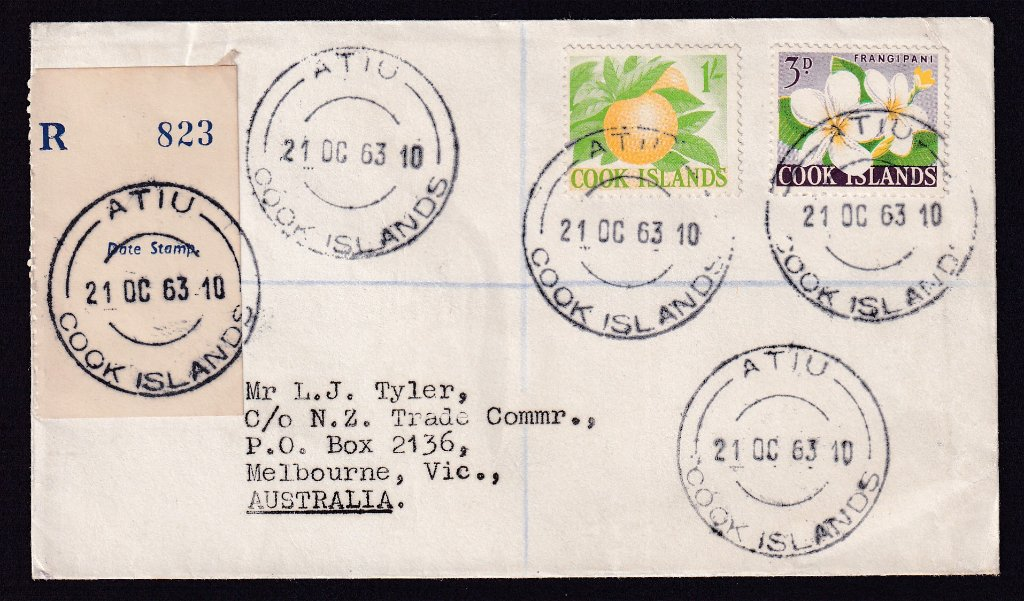 Cooks Island 1963 Registered cover with 3d Frangipanni & 1/- Orange stamps postmarked Atiu 21st October 1963 to NZ Trade Commissioner, Melbourne Australia