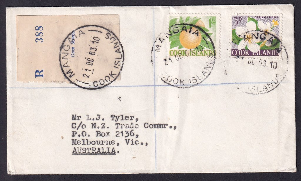 Cooks Island 1963 Registered cover with 3d Frangipanni & 1/- Orange stamps postmarked Mangaia 21st October 1963 to NZ Trade Commissioner, Melbourne Australia