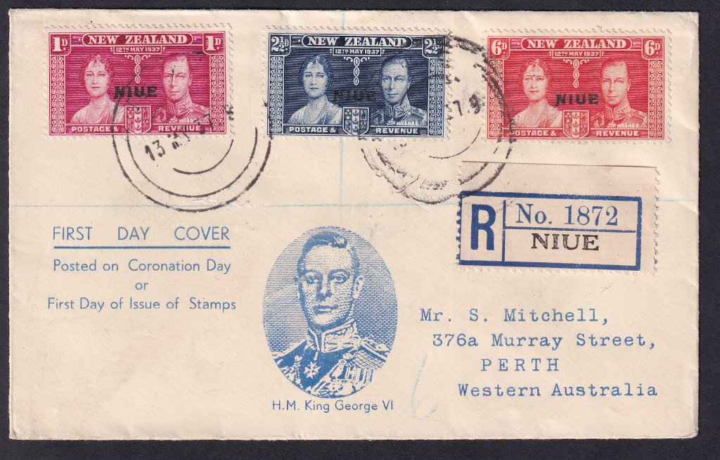 NZ Stamps overprinted Niue CORONATION ISSUE-SG#72,#73,#74, postmarked Niue 13th May 1937