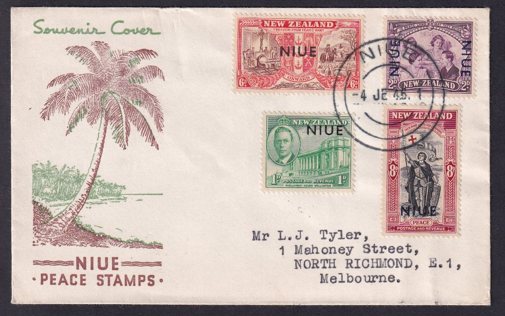 Niue overprint on New Zealand Stamps 1946 SG98-101 Peace issued 4th June 1946 to North Richmond Melbourne Australia.