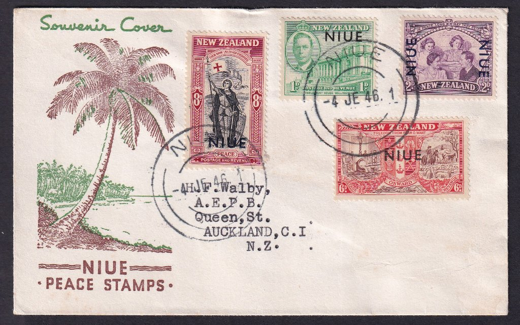 Niue overprint on New Zealand Stamps 1946 SG98-101 Peace issued 4th June 1946 to Auckland NZ