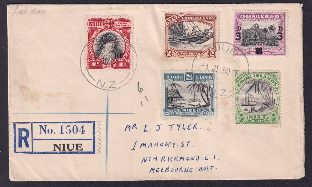 Niue pair of souvenir covers for the last day of usage of Niue/Cook Islands stamps on Niue  postmarked Niue NZ on 1st July 1950