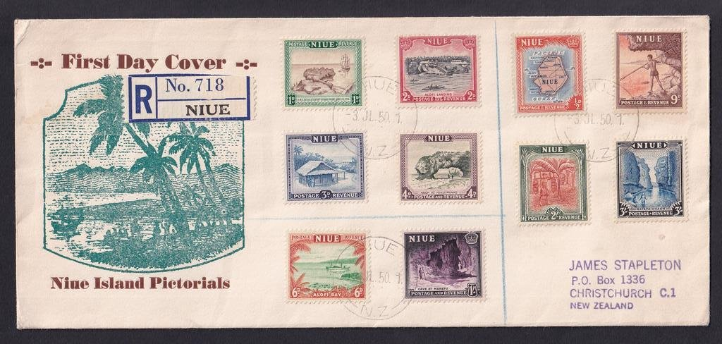 Niue fdc for first Niue stamps, pictorial definitive issue SG113-22 of Monday 3rd July 1950 to Christchurch New Zealand.