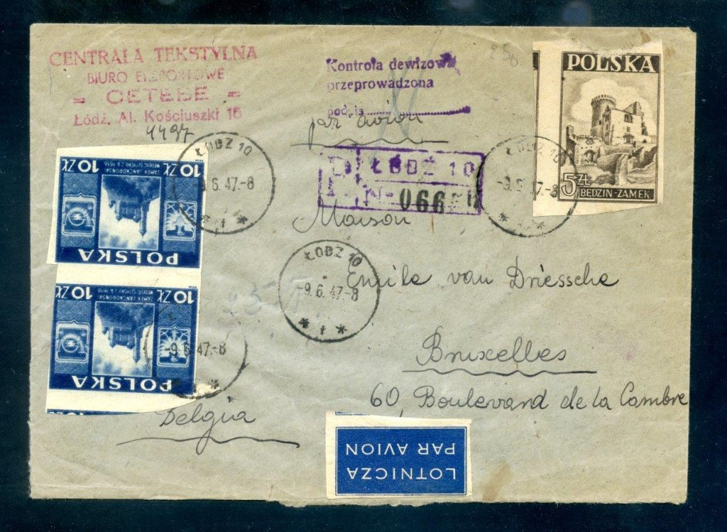 Registered air mail cover sent from Lodz, Poland to Brussels, Belgium in 9.6.47.
