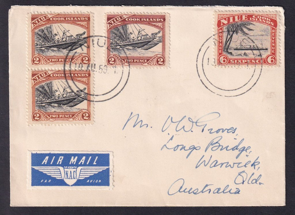 Niue airmail cover to Warwick Queensland 10th August 1959 (using Niue/Cook Islands pictorial stamps).