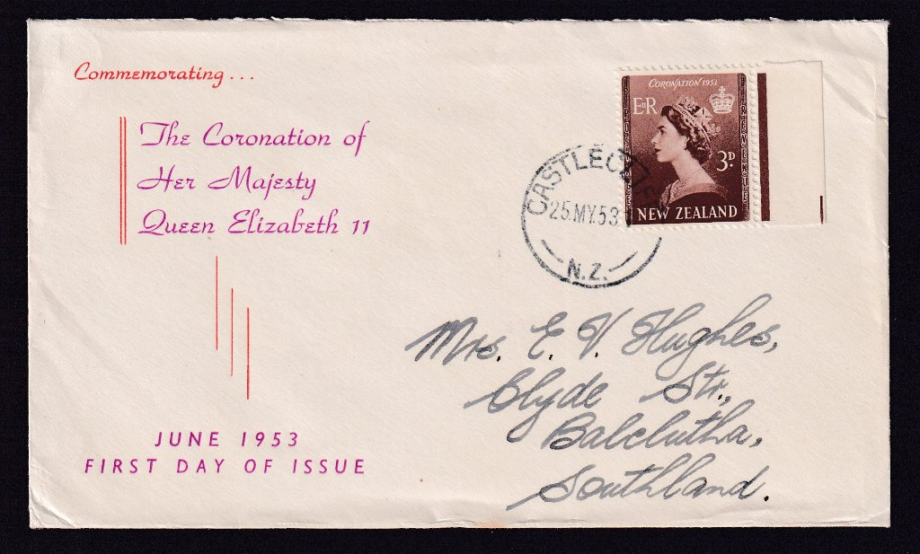 New Zealand fdc Queen Elizabeth II Coronation 3d stamp SG 715 issued 25th May 1953 postmarked Castlecliff to Balclutha South Island