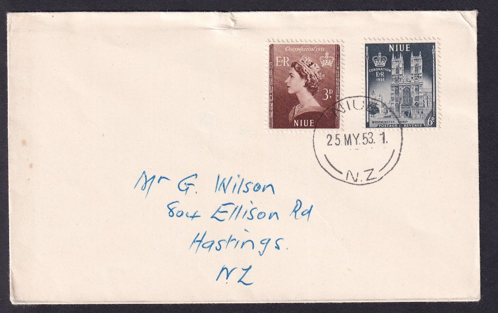 Niue fdc Queen ElizabethII Coronation fdc 3d & 6d stamps issued 25th May 1953 postmarked Niue NZ to Hastings New Zealand