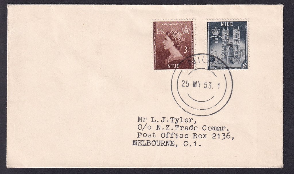Niue fdc Queen Elizabeth II Coronation fdc 3d & 6d stamps issued 25th May 1953 postmarked Niue to Melbourne Australia