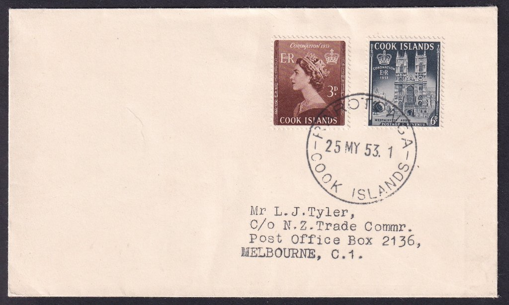 Cook Islands fdc Queen Elizabeth II Coronation fdc 3d & 6d stamps SG160-161 issued 25th May 1953 postmarked Rarotonga to Melbourne Australia