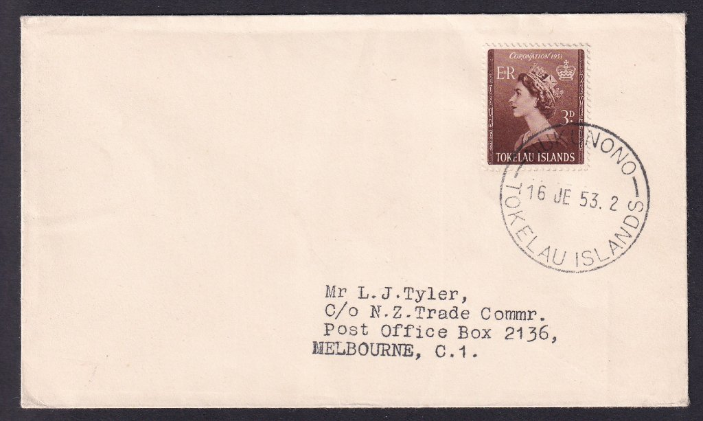 Tokelau Island fdc Queen Elizabeth II Coronation fdc 3d stamps SG4 issued 16th June 1953 postmarked Nukunono to Melbourne Australia