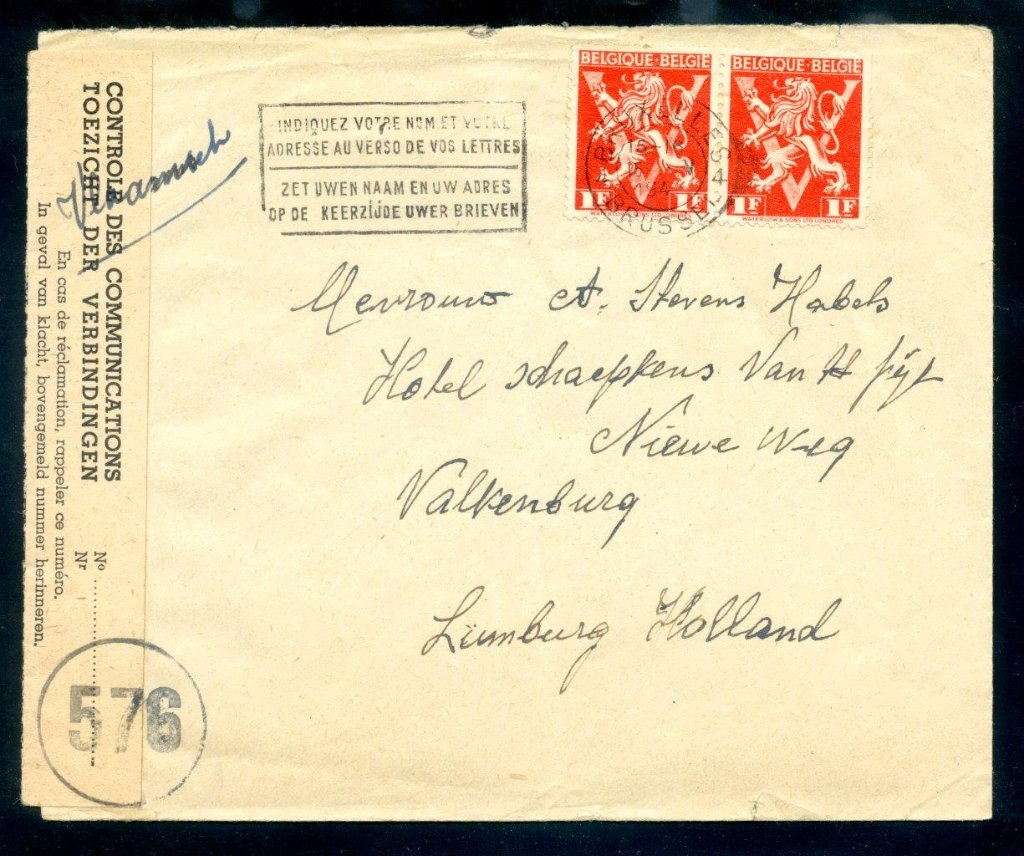 cover sent from Brussels, Belgium to Lumberg, Netherlands in 1945