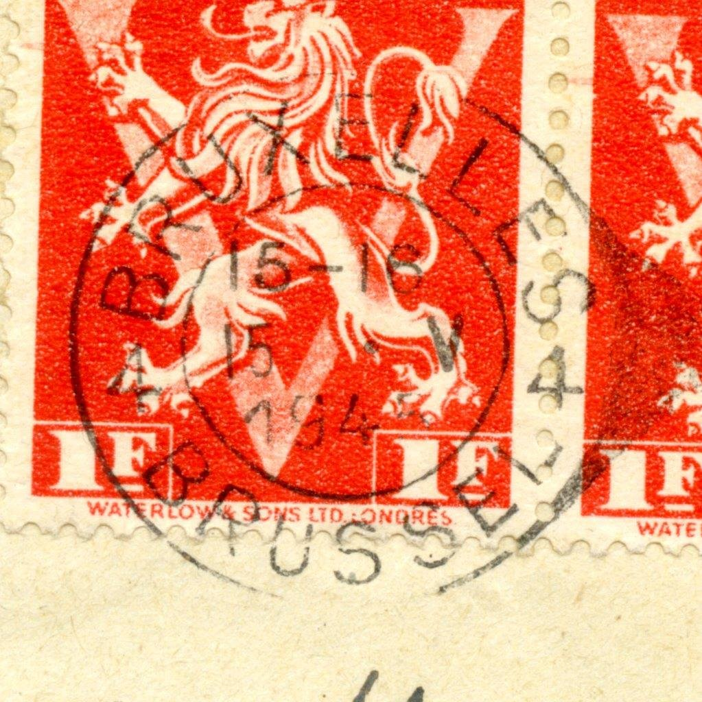 A horizontal pair of the 1 Fr Lion Rampant stamps (Scott 328 SG 1068A) issued 10.11.1944 tied to the cover by a 15-16 5 V 1945 4 BRUXELLES 4 BRUSSEL CDS