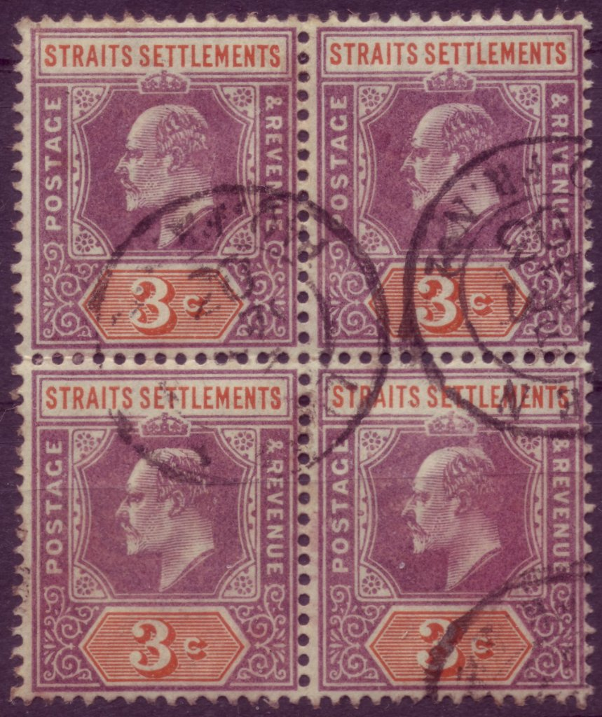 Straits Settlements 3c block/4 with LigneN postmarks