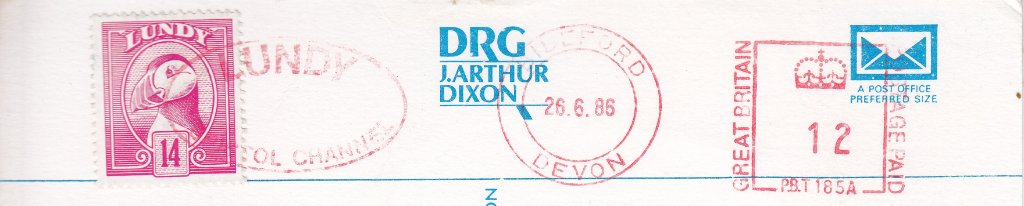 A Lundy stamp, postmark June 1986