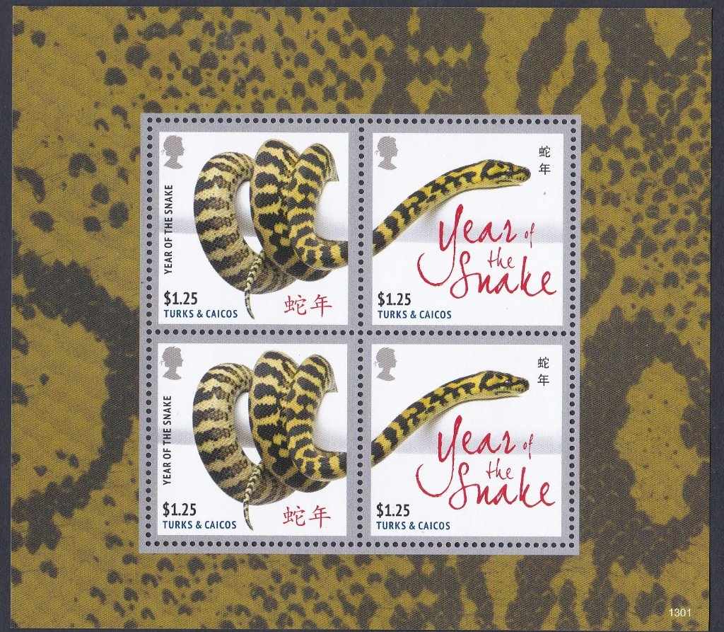 Turks and Caicos Islande Mint Miniature sheet issued for Year of The Snake.