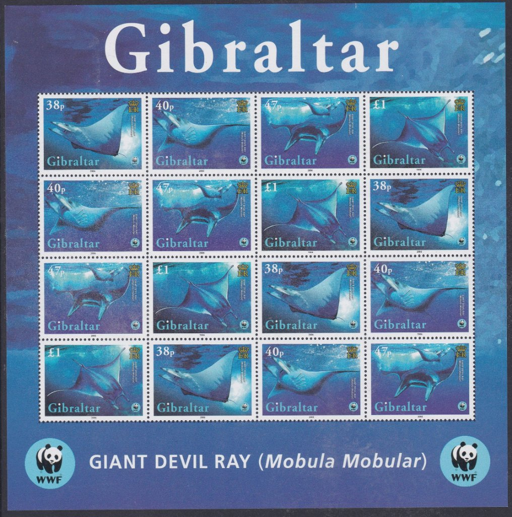 Gibraltar, Mint Sheetlet The Giant Devil Ray for the World Wildlife Fund.