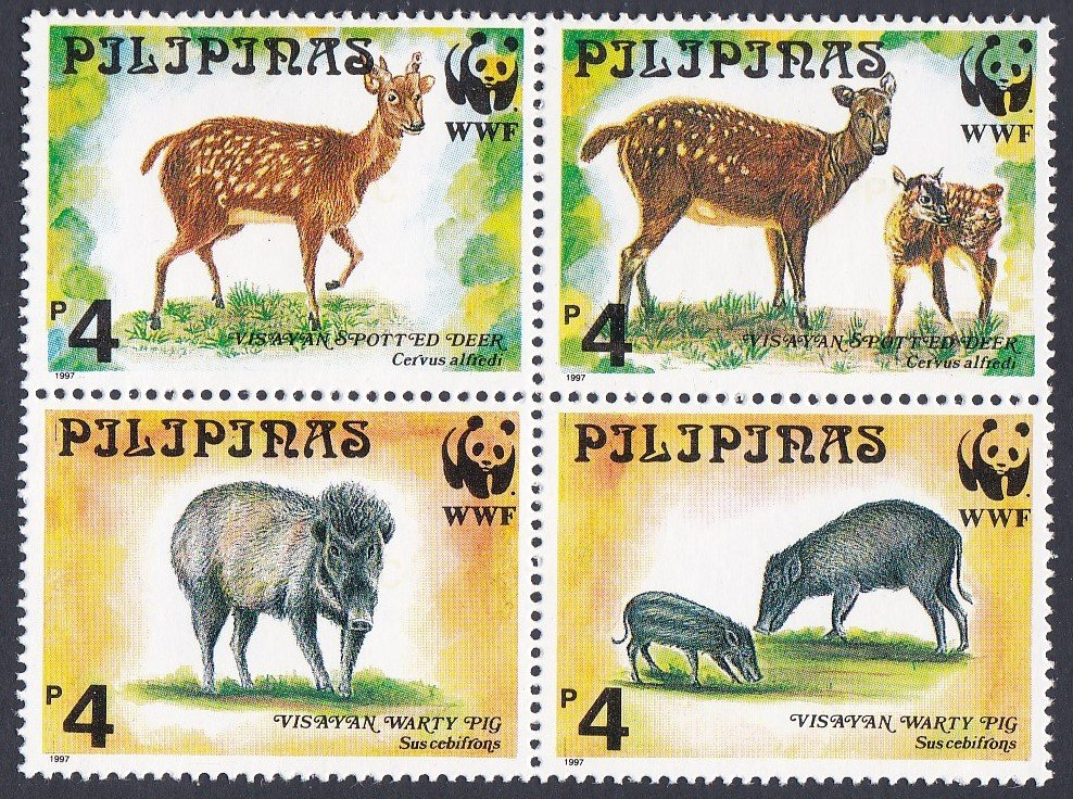 Philipines Mint Miniature Sheet The Visayan Warty Pig and Spotted Deer for The World Wildlife Fund.