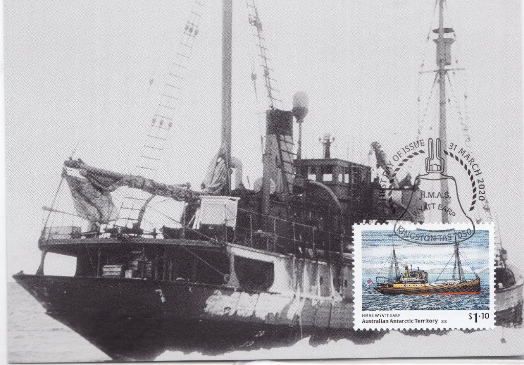 AAT, showing the Wyatt Earp moored to an Ice Floe, issued March 2020