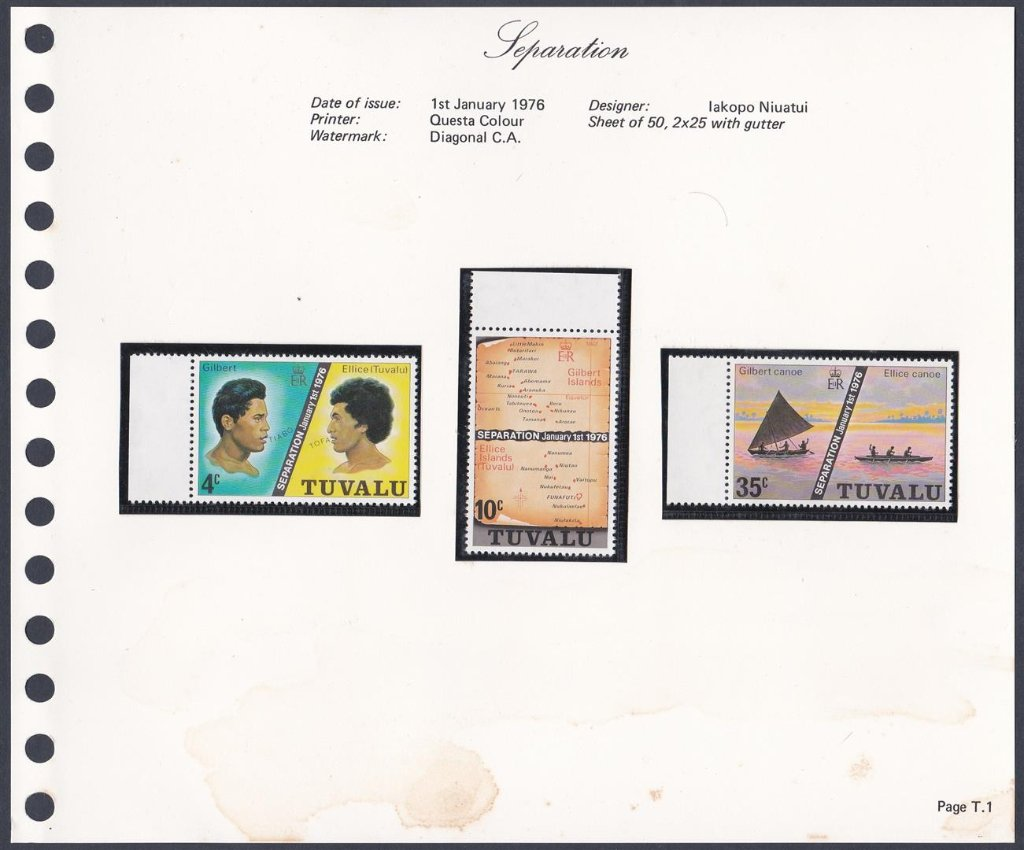 Stamps of Tuvalu. 1976. Separation. Set of three.  SG1-3.